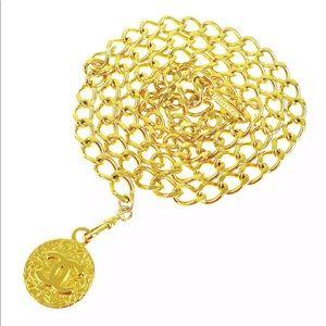 Auth Vintage CHANEL CC Gold Chain Belt/Necklace